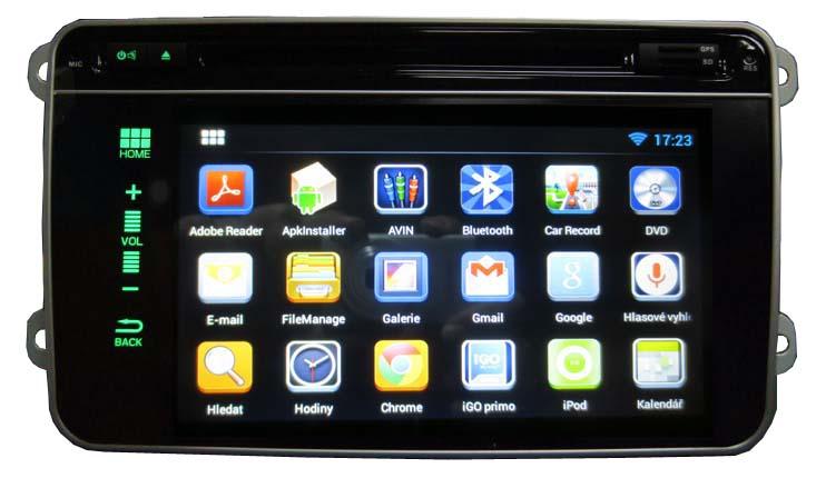 "Autorádio pro VW, Škoda s 7"" LCD, Android 4.2.2, WI-FI, GPS"