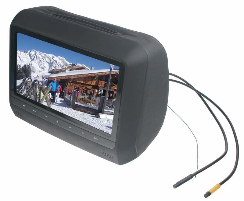 """DVD/SD/USB monitor 9"""" v černé opěrce"""