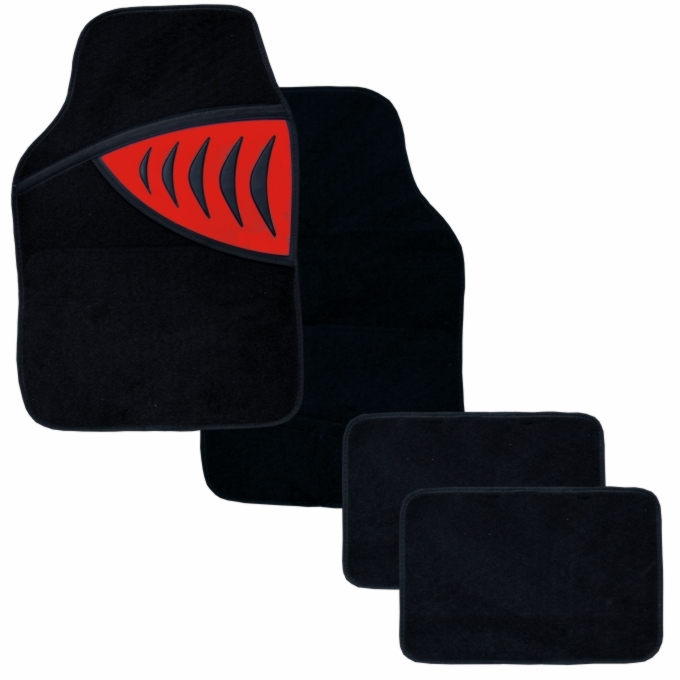 Autokoberce textilní - SHARK, červené