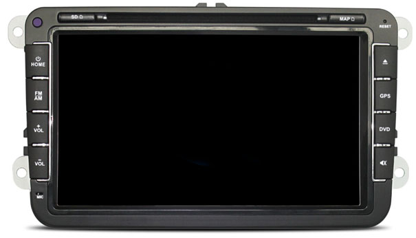 """Autorádio pro VW, Škoda s 8"""" LCD, Android 4.4.4, WI-FI, BT, DVD, zelené podsvícení"""