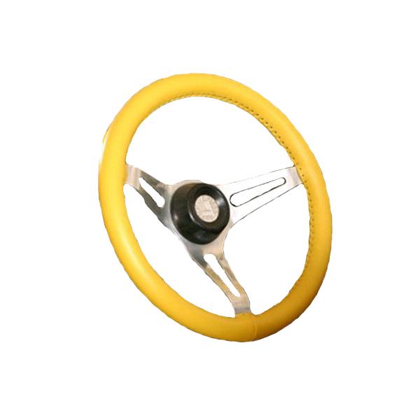 Kožený potah volantu Maria Cavallo žlutý ( 37-39 cm)