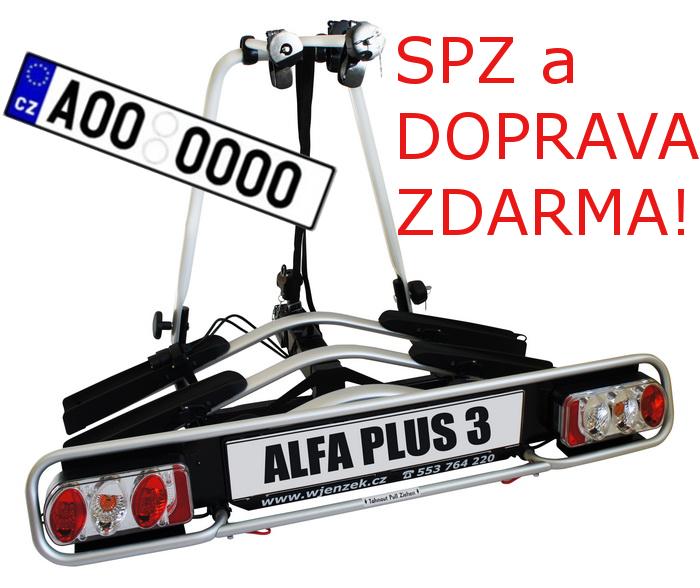 Nosič kol Wjenzek ALFA 3 PLUS na tažné zařízení DOPRAVA A SPZ ZDARMA