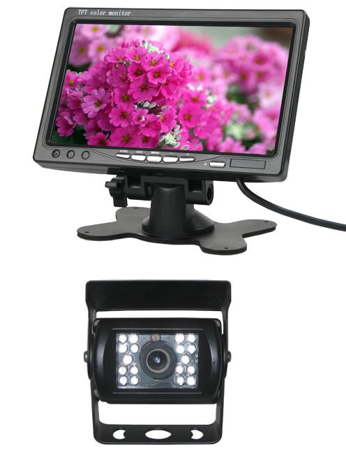 LCD TFT monitor do auta 7 palcový + Couvací kamera c107ccd s infračerveným viděním pro nák