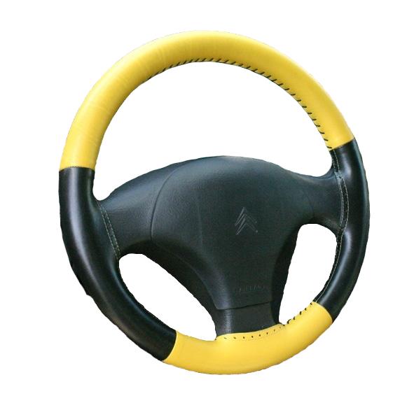 Kožený potah volantu Maria Cavallo žluto/černý ( 37-39 cm)