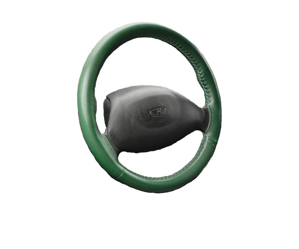 Kožený potah volantu Maria Cavallo tmavě zelený ( 37-39 cm)