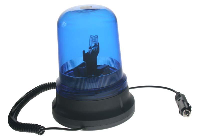 Zábleskový maják, 12V, modrý magnet, ECE R10